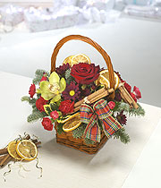 Christmas basket, red rose, white open tulips and small red roses