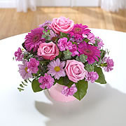 A bouquet of pink roses with purple and white daisies