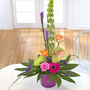A purple vase, bouquet, with a pink rose, orange roses, a purple daisy, a Bells of Ireland flower and two purple Blazing-Stars  surrounded by green leaves
