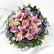 A large pink and purple posy bouquet