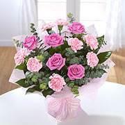 A bouquet of pink roses, two shades of pink