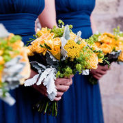 A yellow, hand-tied, Bouquet